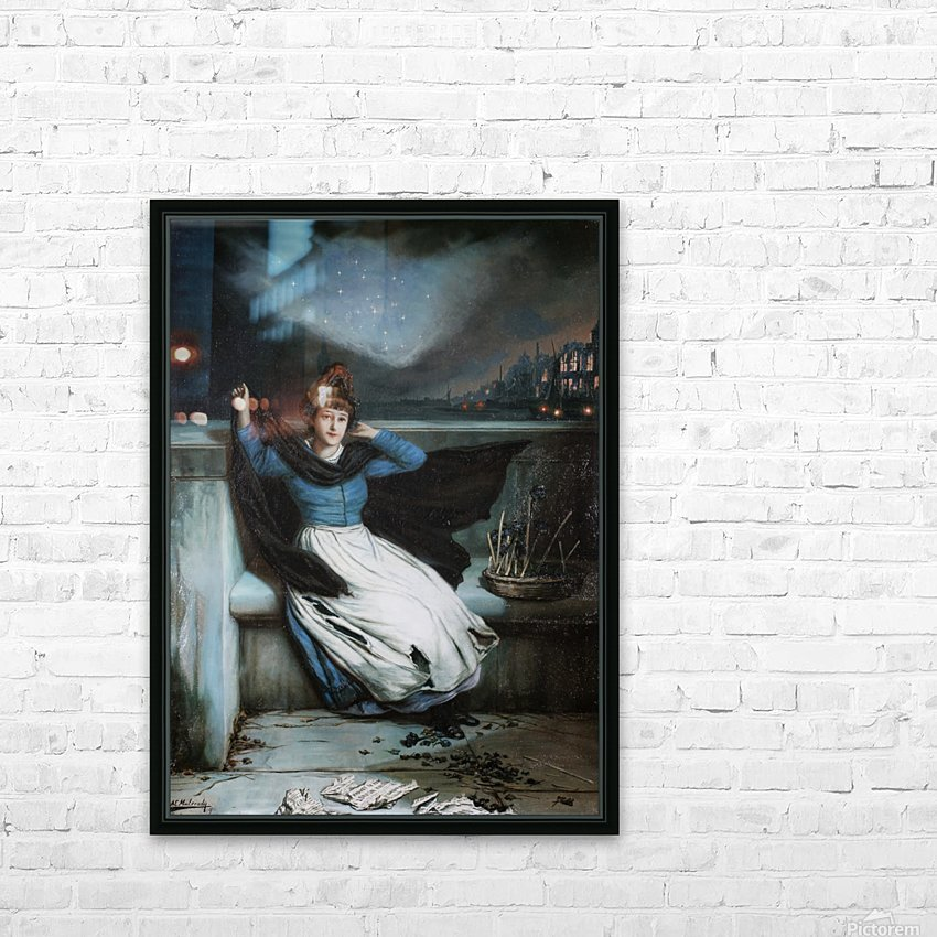 A woman in a blue dress at the edge of a city HD Sublimation Metal print with Decorating Float Frame (BOX)