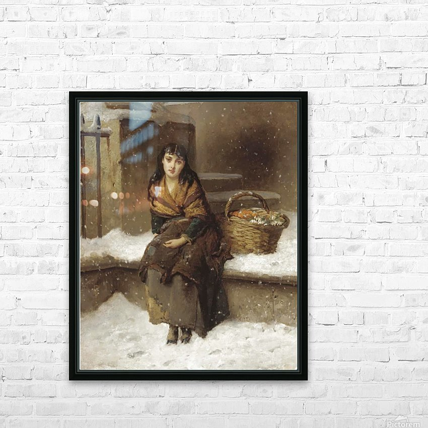 A woman in the snow with a grocery basket HD Sublimation Metal print with Decorating Float Frame (BOX)