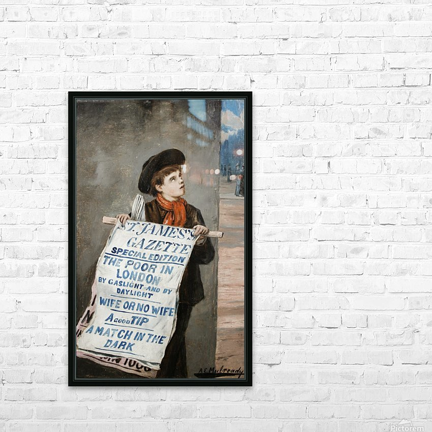 A small boy advertising the news HD Sublimation Metal print with Decorating Float Frame (BOX)
