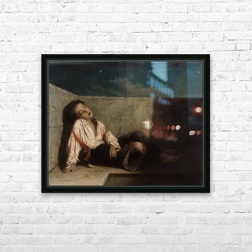 A boy sleeping on the London bridge HD Sublimation Metal print with Decorating Float Frame (BOX)