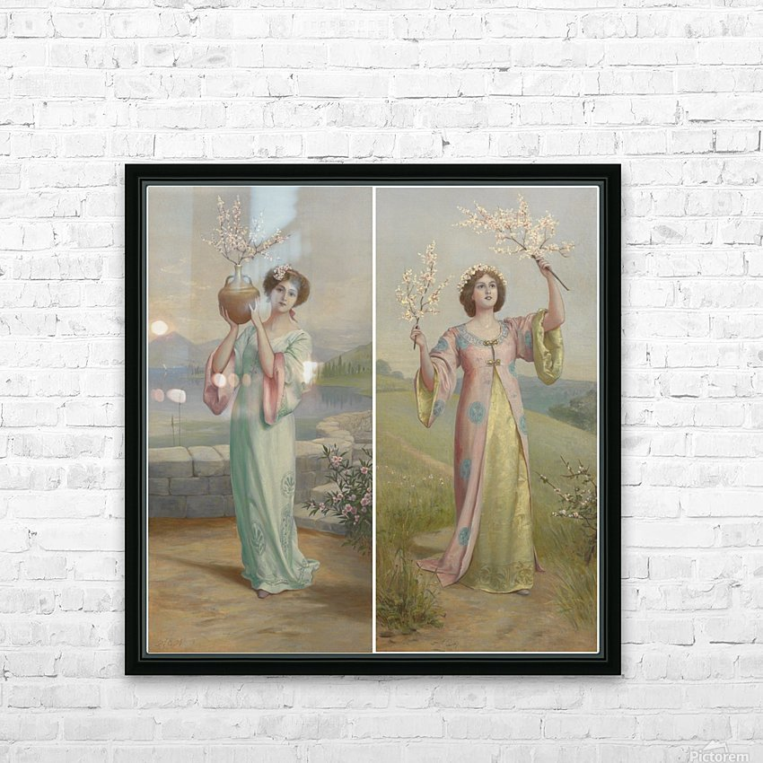 Two youg fairies HD Sublimation Metal print with Decorating Float Frame (BOX)
