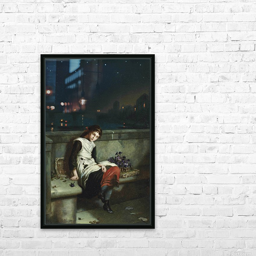 A girl selling purple flowers on a bridge HD Sublimation Metal print with Decorating Float Frame (BOX)