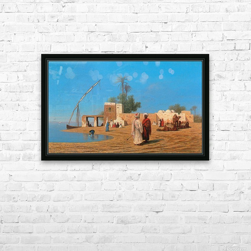 A Village on the Shores of the Nile HD Sublimation Metal print with Decorating Float Frame (BOX)