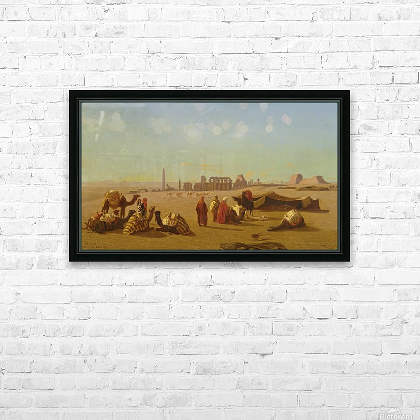 A caravan at rest, the Temple of Karnak, Thebes in the distance HD Sublimation Metal print with Decorating Float Frame (BOX)