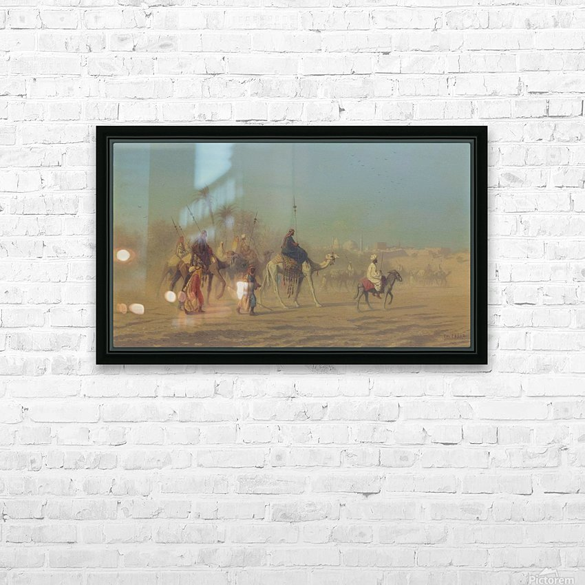 Arab caravan outside city HD Sublimation Metal print with Decorating Float Frame (BOX)