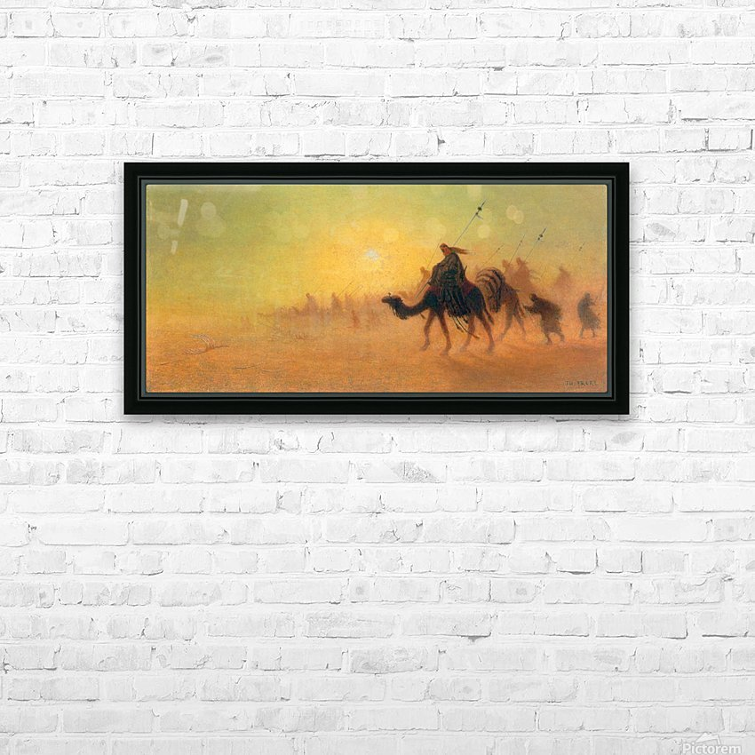 Caravan traveling in the desert HD Sublimation Metal print with Decorating Float Frame (BOX)