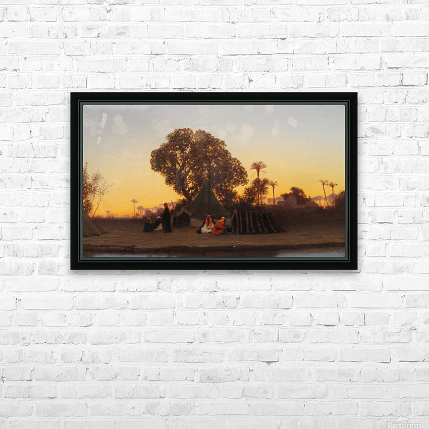 Arab encampment at sunset HD Sublimation Metal print with Decorating Float Frame (BOX)