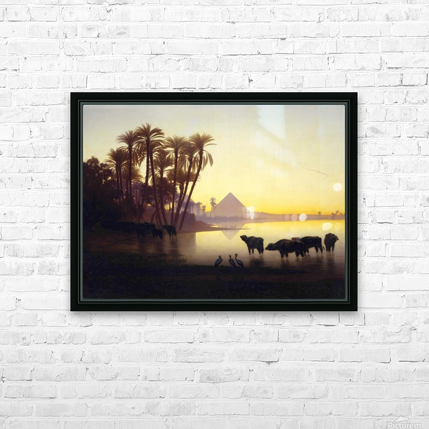Along the Nile at Giza HD Sublimation Metal print with Decorating Float Frame (BOX)
