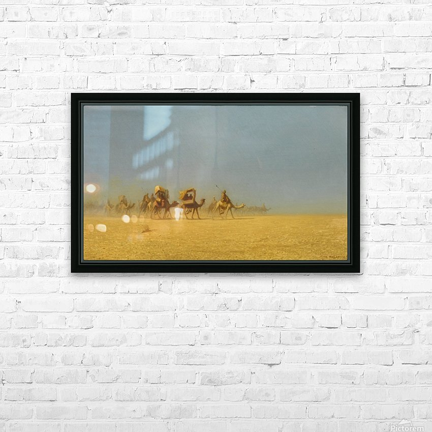 Camel train in the desert HD Sublimation Metal print with Decorating Float Frame (BOX)