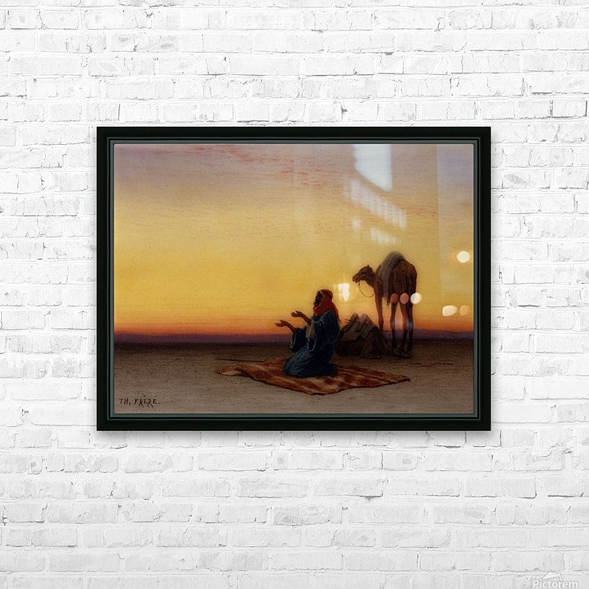 Arab at prayer HD Sublimation Metal print with Decorating Float Frame (BOX)