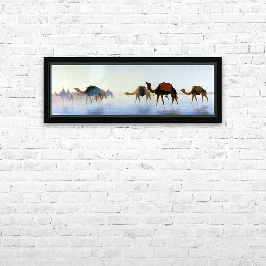 Camels crossing water HD Sublimation Metal print with Decorating Float Frame (BOX)