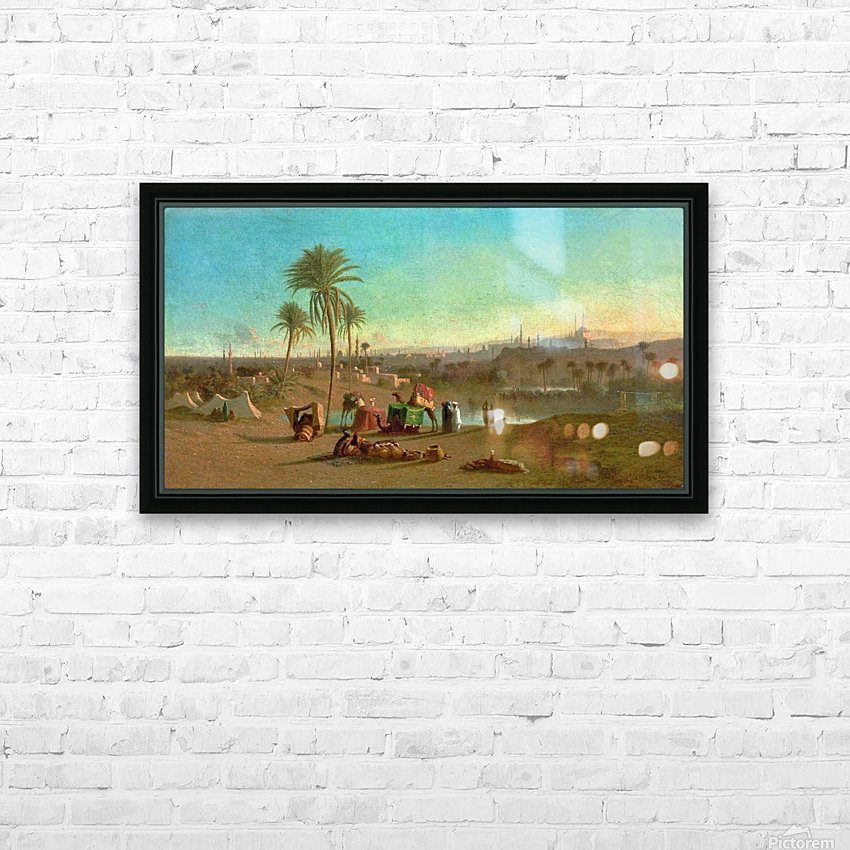 A Camel Train at an Oasis, Cairo Beyond 1853 HD Sublimation Metal print with Decorating Float Frame (BOX)