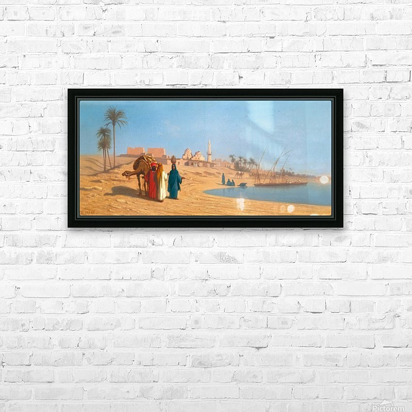 Conversation on the banks of the Nile HD Sublimation Metal print with Decorating Float Frame (BOX)