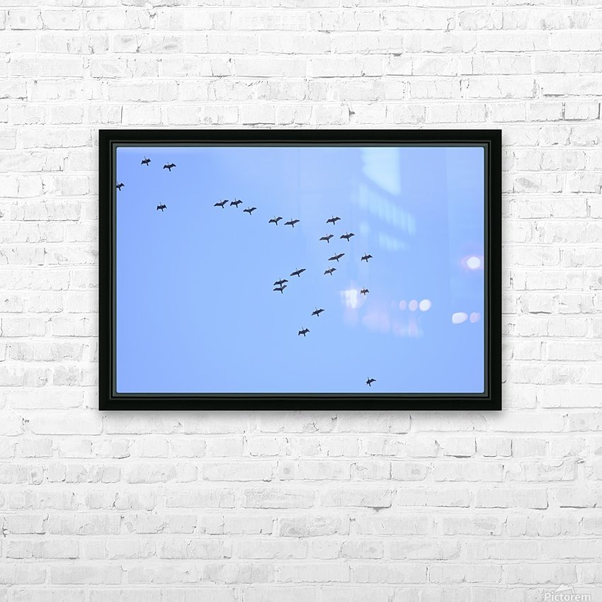 Flock of Geese 2 HD Sublimation Metal print with Decorating Float Frame (BOX)