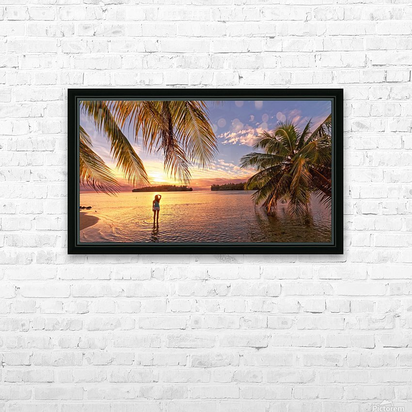 Tahitian sunsets HD Sublimation Metal print with Decorating Float Frame (BOX)