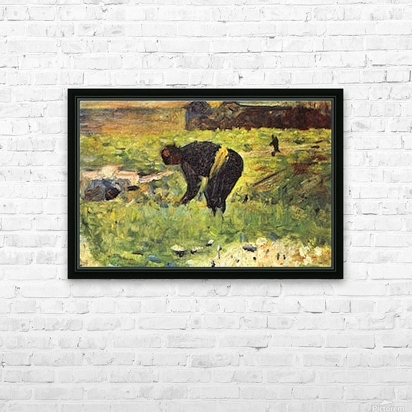 Farmer at work by Seurat HD Sublimation Metal print with Decorating Float Frame (BOX)