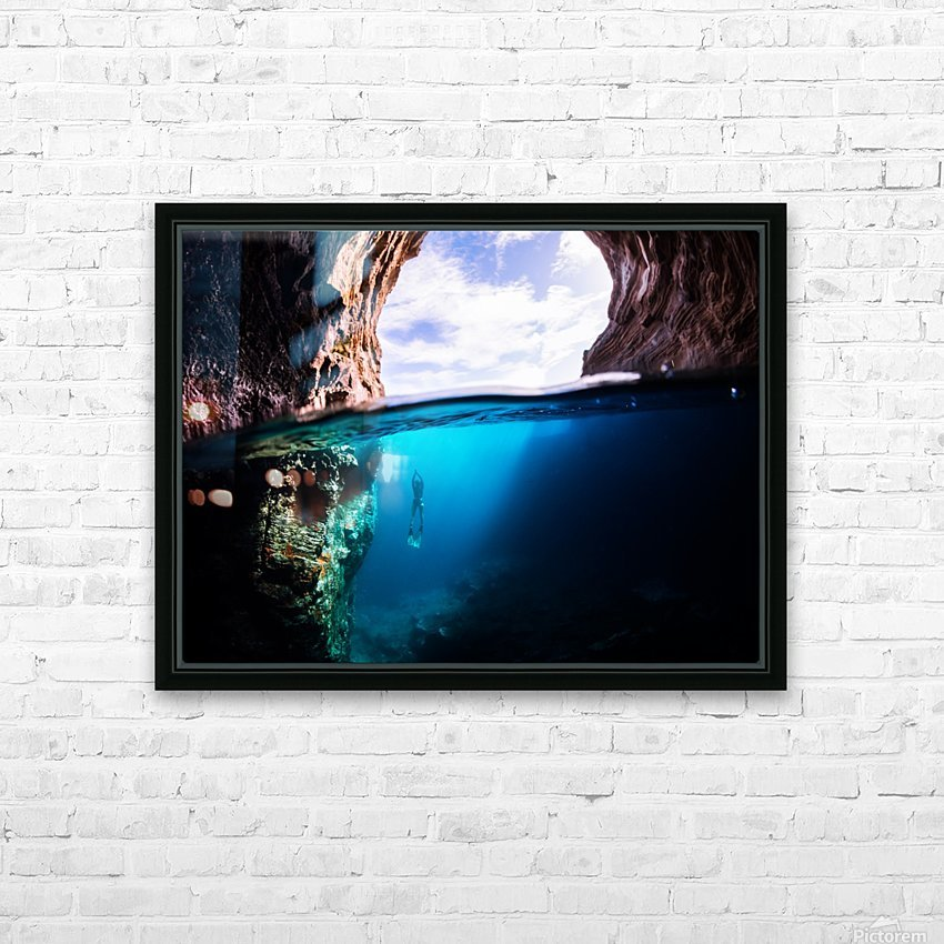 Cave diving HD Sublimation Metal print with Decorating Float Frame (BOX)