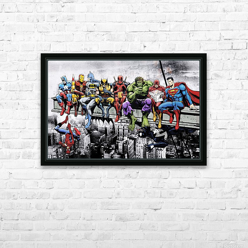 Marvel and DC Superheroes Lunch Atop A Skyscraper Featuring Captain America, Iron Man, Batman, Wolverine, Deadpool, Hulk, Flash & Superman HD Sublimation Metal print with Decorating Float Frame (BOX)