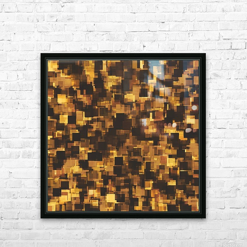 geometric square pattern abstract in brown and black HD Sublimation Metal print with Decorating Float Frame (BOX)