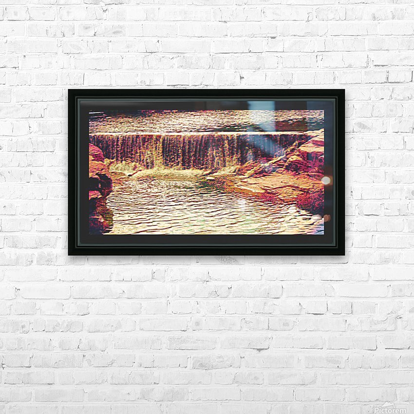 Medicine Park waterfall pic art HD Sublimation Metal print with Decorating Float Frame (BOX)