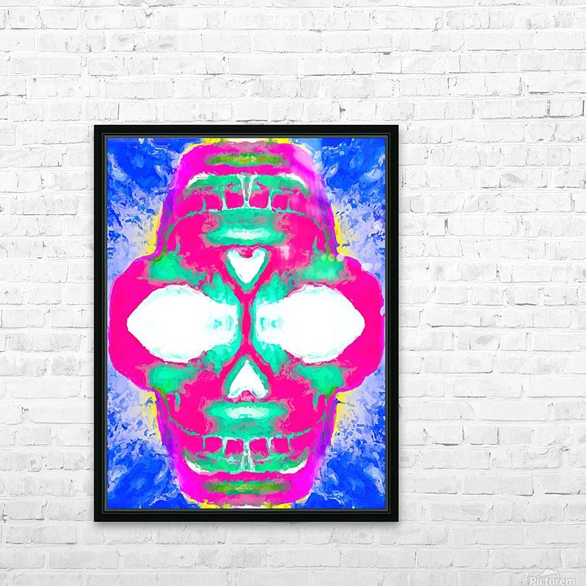 painting pink smiling skull head with blue and yellow background HD Sublimation Metal print with Decorating Float Frame (BOX)