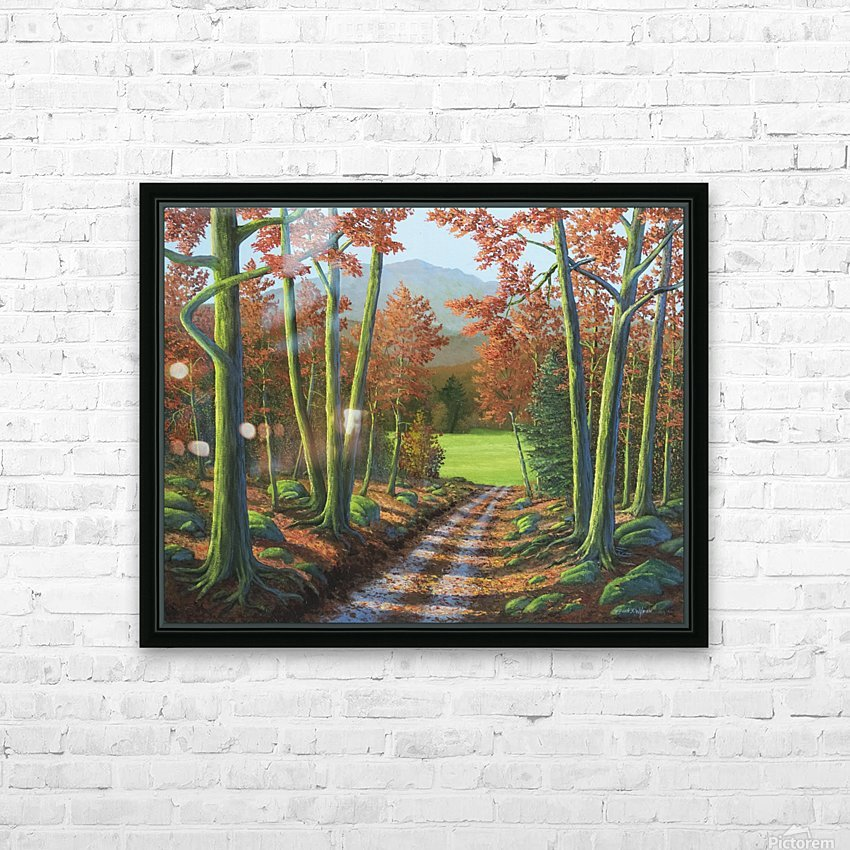 Maple Forest Road HD Sublimation Metal print with Decorating Float Frame (BOX)