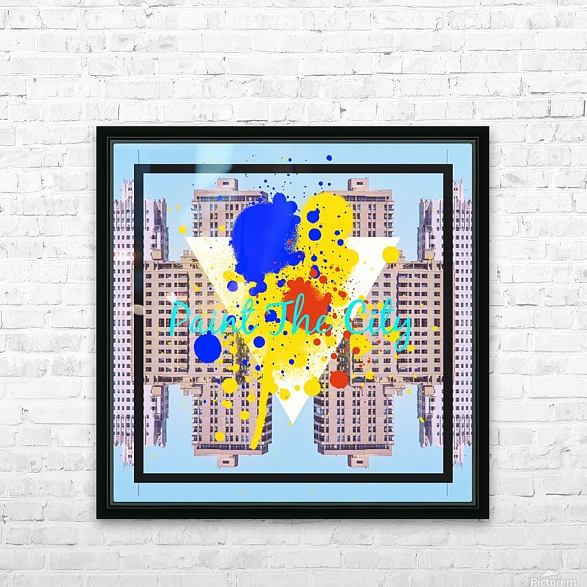 paint the city yellow blue and orange with buildings background HD Sublimation Metal print with Decorating Float Frame (BOX)