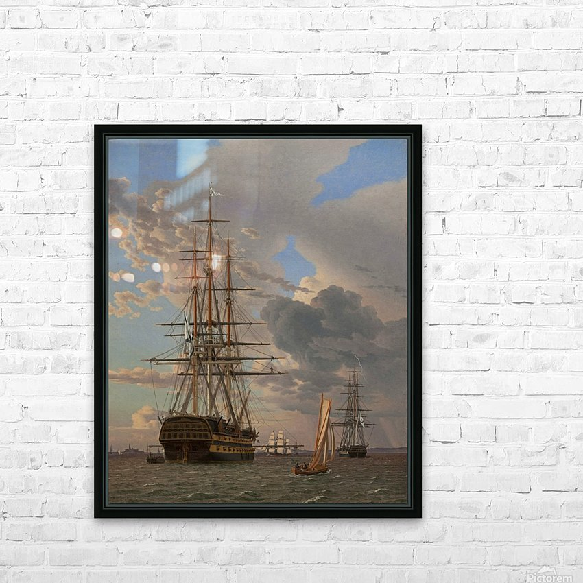 A Russian ship of the Line Asow and a Frigate at Anchor in the Roads of Elsinore HD Sublimation Metal print with Decorating Float Frame (BOX)