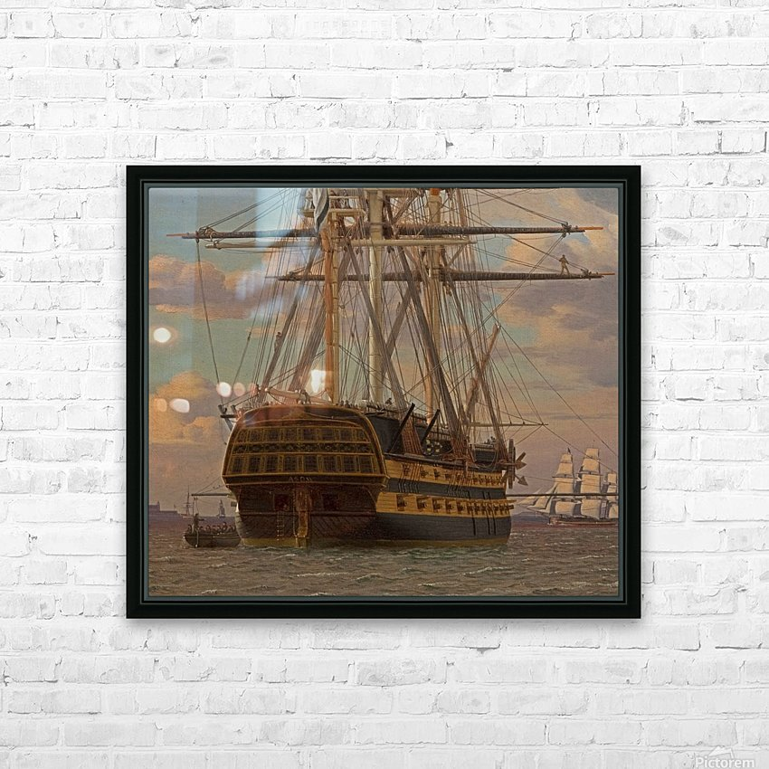 The Russian ship of the line Asow and a frigate at Anchor in the Roads of Elsinore HD Sublimation Metal print with Decorating Float Frame (BOX)