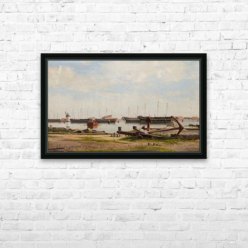 View of the wharf at Nyholm with the crane and some warships HD Sublimation Metal print with Decorating Float Frame (BOX)
