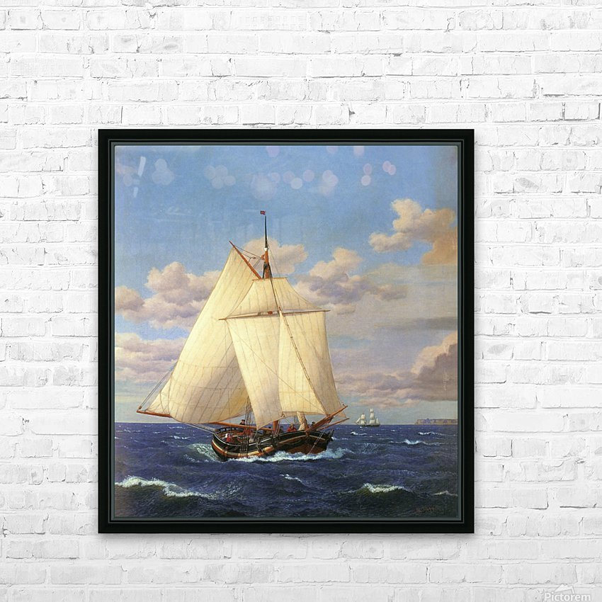 Two boats sailing near the coast HD Sublimation Metal print with Decorating Float Frame (BOX)