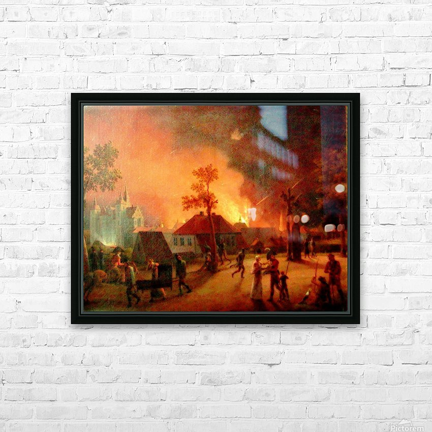 The Bombardment of Copenhagen HD Sublimation Metal print with Decorating Float Frame (BOX)