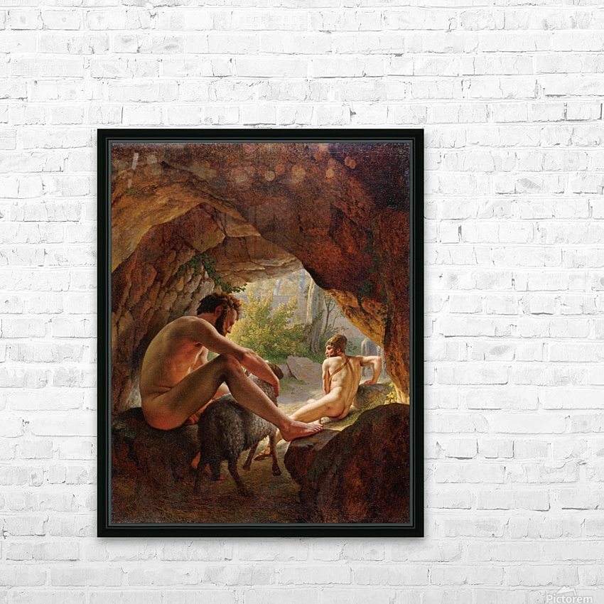 Odysseus flygter fra Polyfem HD Sublimation Metal print with Decorating Float Frame (BOX)
