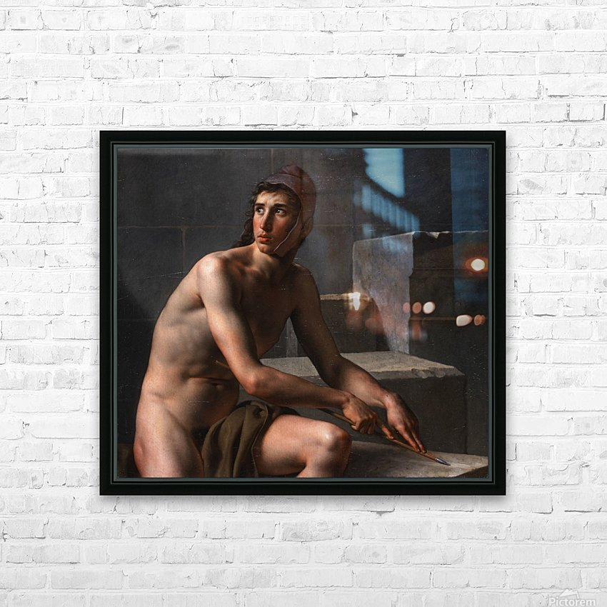 A young bowman sharpening his arrow HD Sublimation Metal print with Decorating Float Frame (BOX)