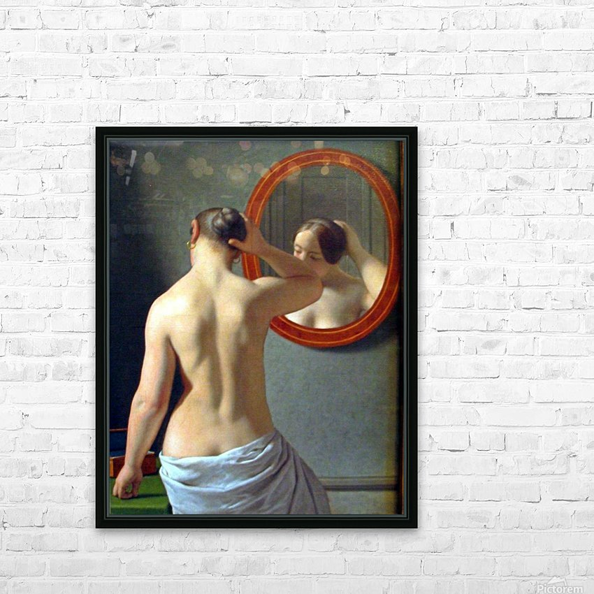 Woman in front of a mirror HD Sublimation Metal print with Decorating Float Frame (BOX)
