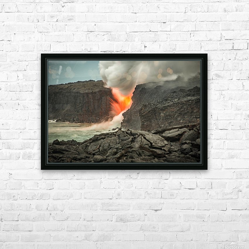 Lava Entering the Ocean HD Sublimation Metal print with Decorating Float Frame (BOX)