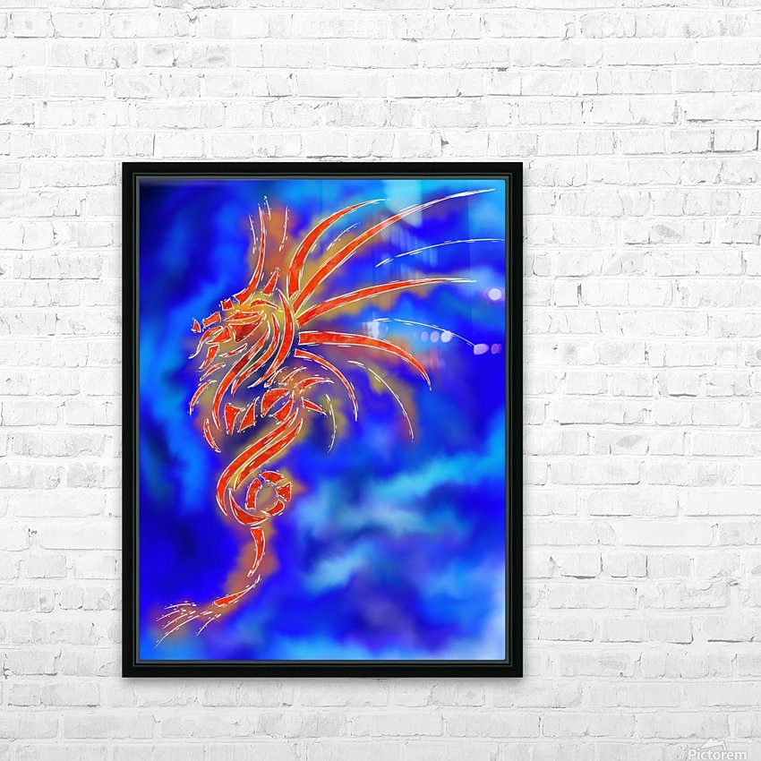 Essemios - furious dragon HD Sublimation Metal print with Decorating Float Frame (BOX)