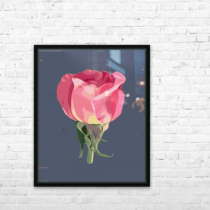 pink rose with grey background HD Sublimation Metal print with Decorating Float Frame (BOX)