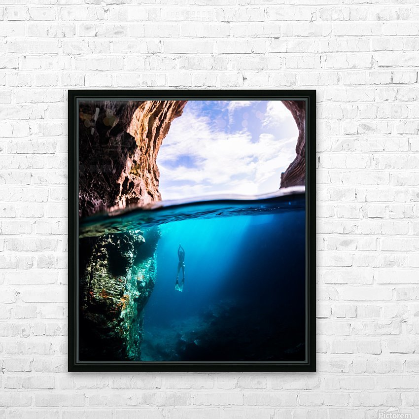 Cave diving vert HD Sublimation Metal print with Decorating Float Frame (BOX)