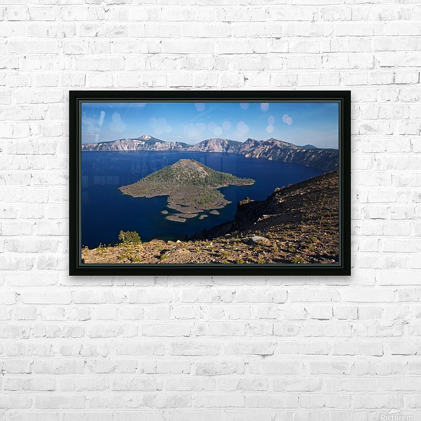 West rim view of Crater Lake overlooking Wizard Island HD Sublimation Metal print with Decorating Float Frame (BOX)