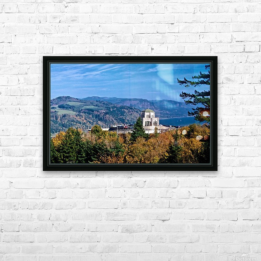 Crown Point overlooking Columbia River Gorge with fall colors HD Sublimation Metal print with Decorating Float Frame (BOX)