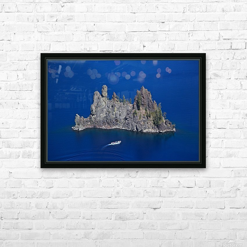 Phantom Ship and tourist boat, Crater Lake National Park    HD Sublimation Metal print with Decorating Float Frame (BOX)
