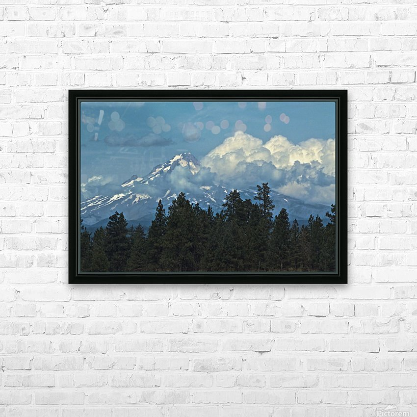 Mt Hood & Clouds HD Sublimation Metal print with Decorating Float Frame (BOX)