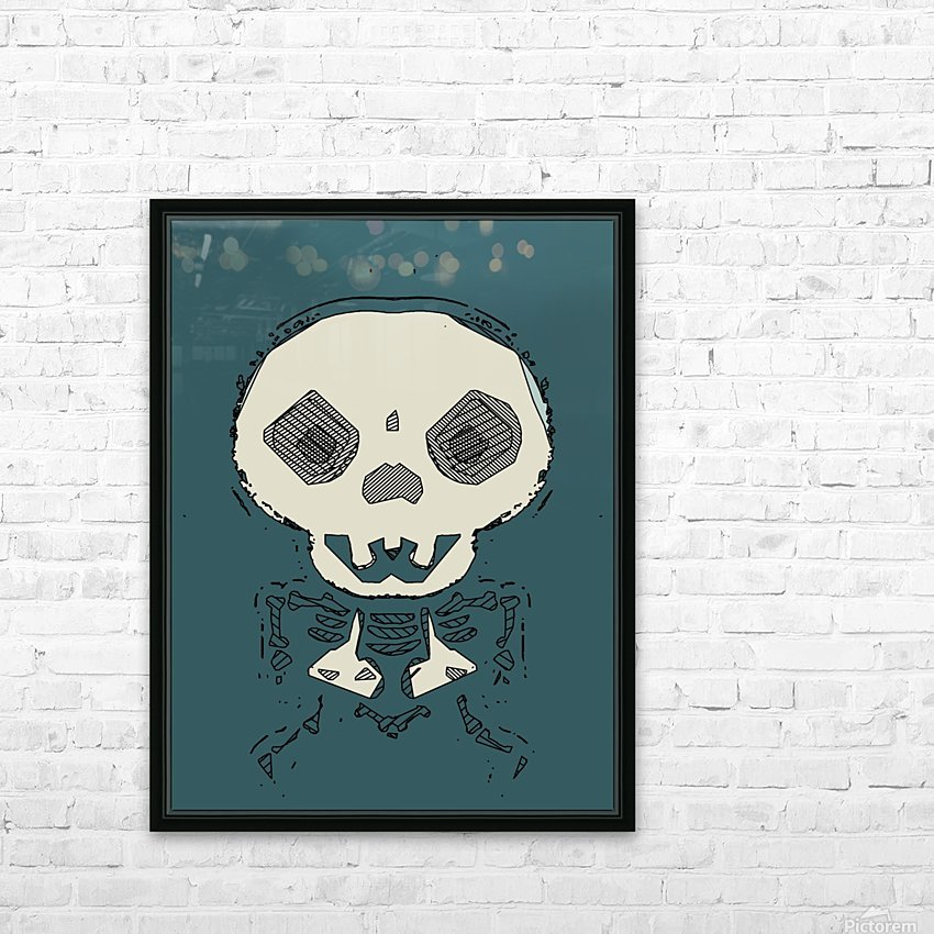 skull and bone graffiti drawing with green background HD Sublimation Metal print with Decorating Float Frame (BOX)