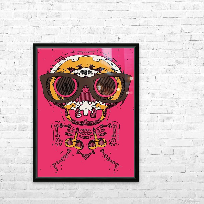 funny skull and bone graffiti drawing in orange brown and pink HD Sublimation Metal print with Decorating Float Frame (BOX)
