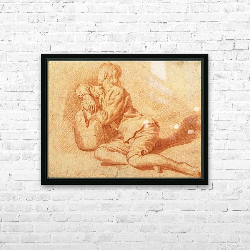Study of a seated boy leaning on a flagon HD Sublimation Metal print with Decorating Float Frame (BOX)