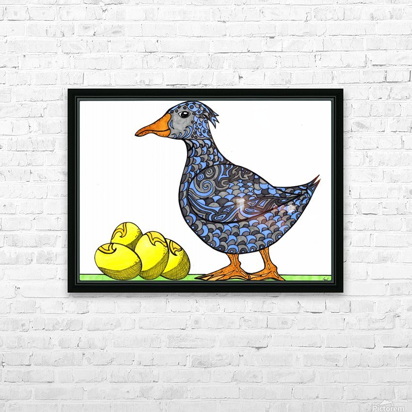 Goose and Golden Eggs HD Sublimation Metal print with Decorating Float Frame (BOX)