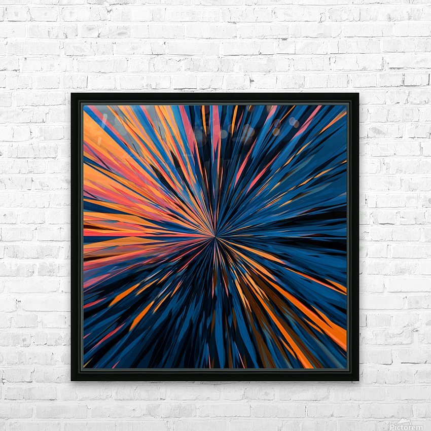 psychedelic splash painting abstract pattern in orange brown pink blue HD Sublimation Metal print with Decorating Float Frame (BOX)