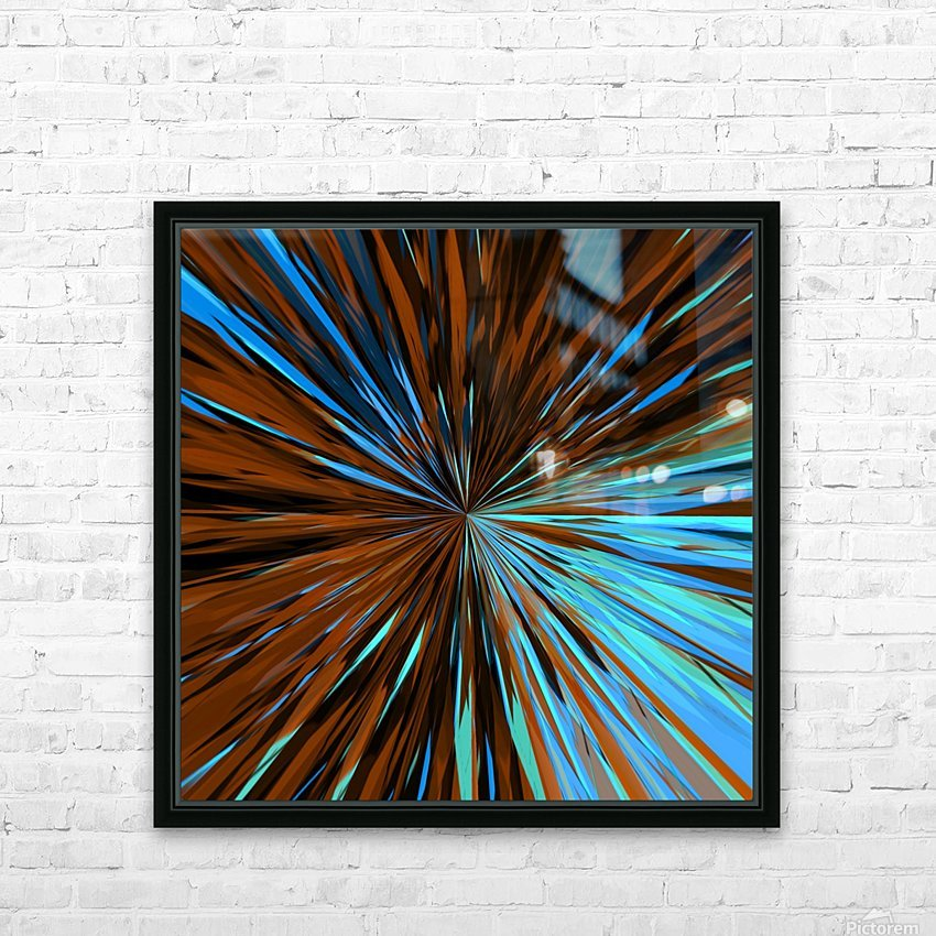 psychedelic splash painting abstract pattern in brown and blue HD Sublimation Metal print with Decorating Float Frame (BOX)