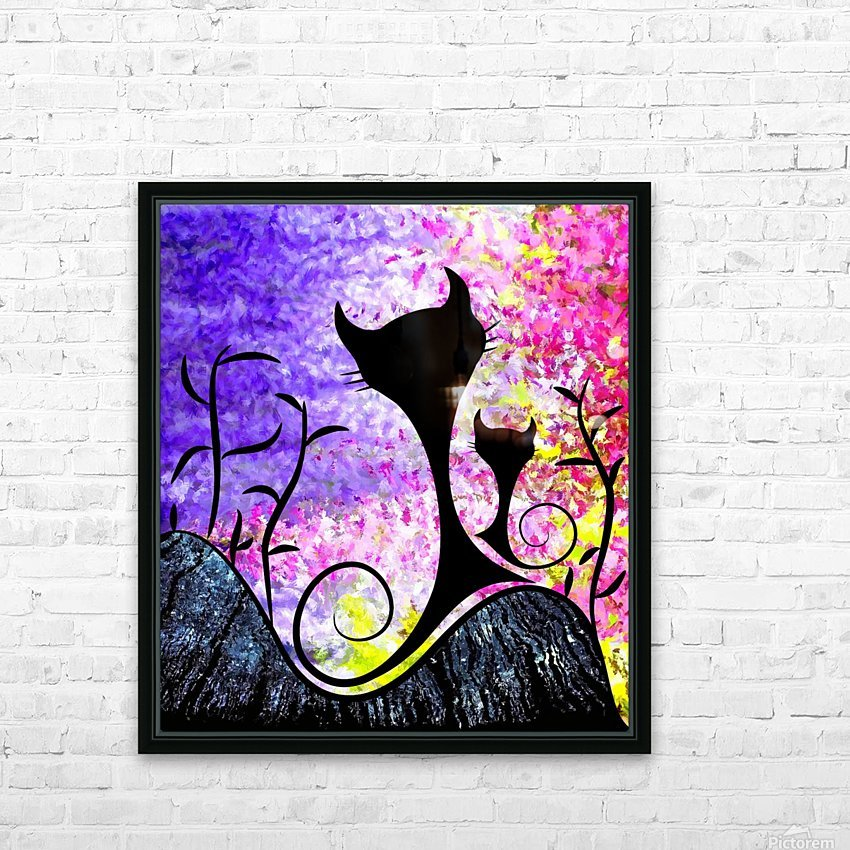 Messemios - black cats HD Sublimation Metal print with Decorating Float Frame (BOX)